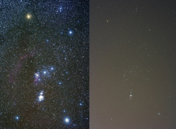 Figure 1. The effect of light pollution on the night sky. This split image shows how artificial light washes out most of the faint detail in the constellation Orion.