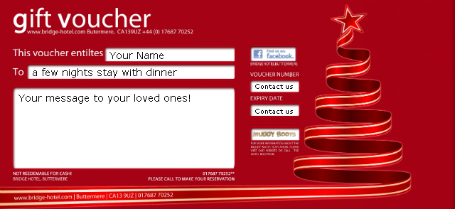 Christmas Vouchers at The Bridge Hotel News from Buttermere