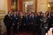 Dîner autour de la Ministre marocaine Hakima El Haite au Sénat, Joël Ruet en compagnie de parlementaires, de représentants de l'Élysée et de l'industrie