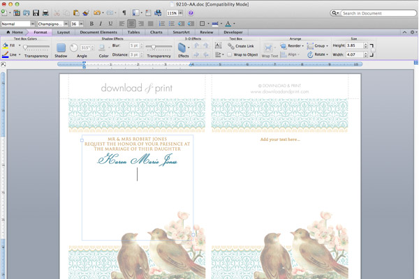 Free Printable Wedding Invitation Template Set - Birds  Blossoms - microsoft word wedding invitation templates free