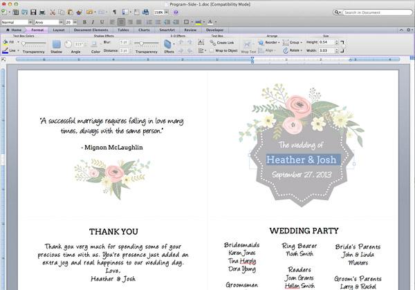 Printable Flower Garden Wedding Program The Budget Savvy Bride - wedding programs word template