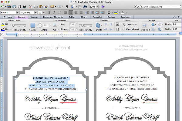 Free Printable Die-Cut Wedding Invitation The Budget Savvy Bride