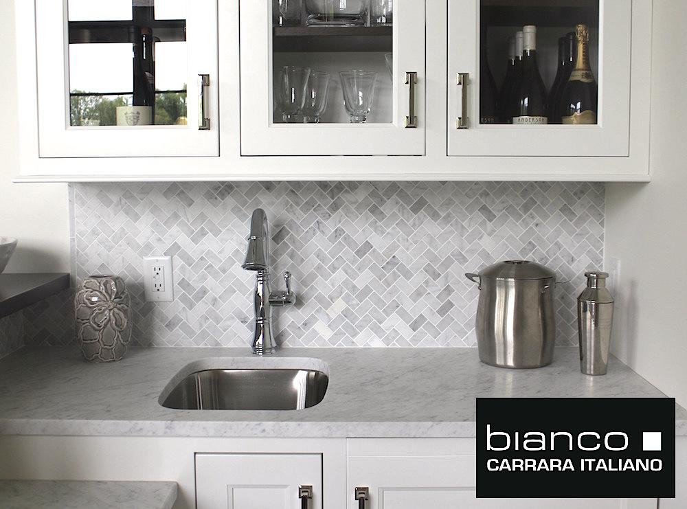 Carrara Bianco Herringbone Backsplash Mosaic Tile