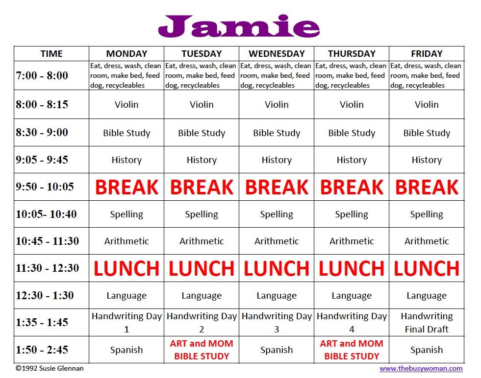 Homeschool Schedule Sample - The Busy Woman - homeschool schedule template