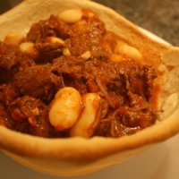 Beef & Butterbean Stew in a Bread Bowl