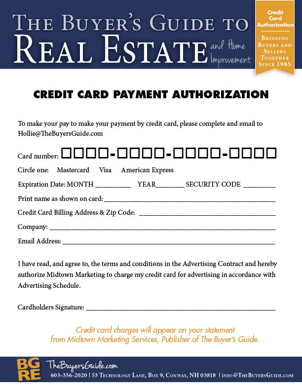 Forms and information for advertisers in The Buyer\u0027s Guide Credit