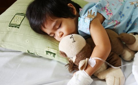 a sick child in the hospital