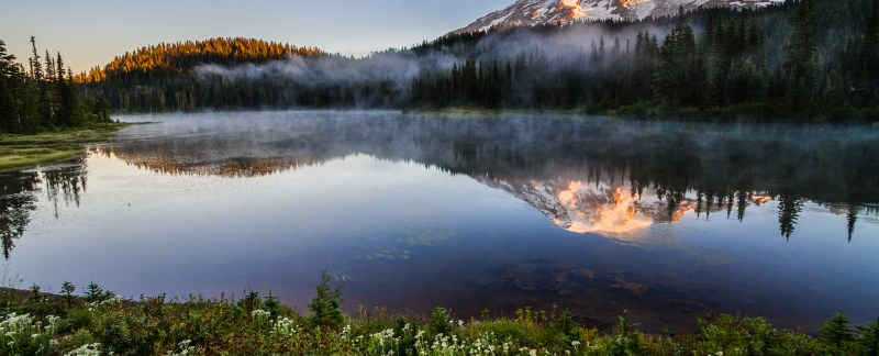 Mount Rainier And Reflection Lakes At Sunrise, Washington, USA,