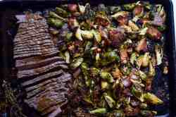 Smart Toasted Coconut Brussel Sprouts Sheet Pan Meal Brussel Sprouts Keto Oven Brussel Sprouts Keto Recipe Keto Sheet Pan Meal London Broil