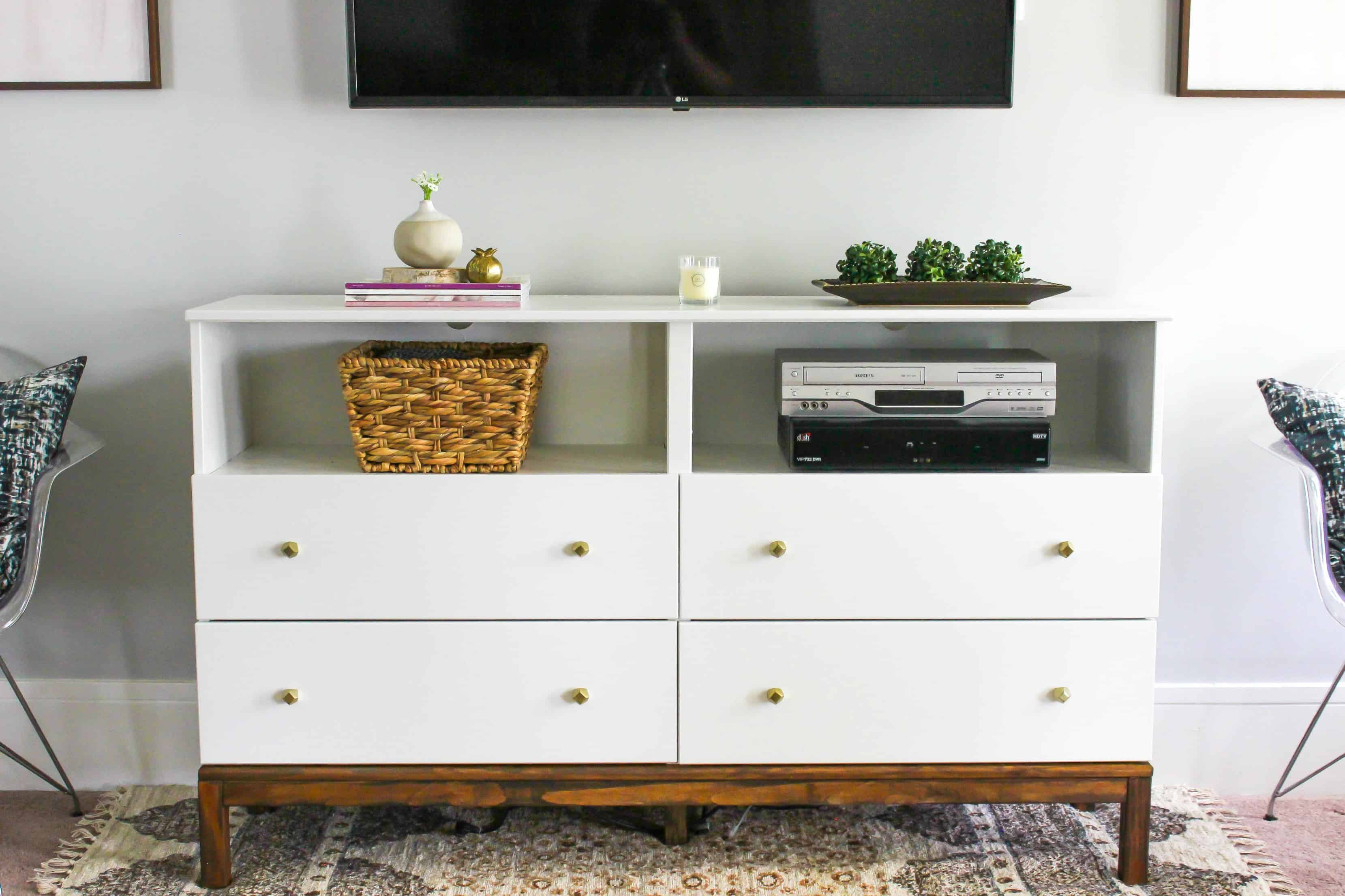 Corner Tv Stand Ikea Ikea Dresser To Tv Stand Transformation