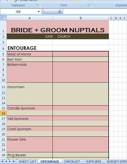 wedding checklist excel - wedding list