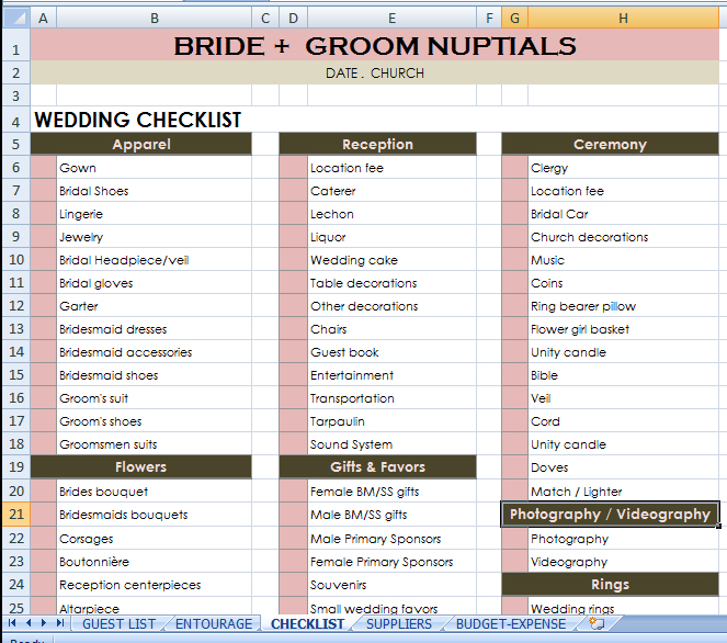 wedding checklist excel - Excel Check List
