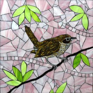 This stained-glass wren is part of a three-bird series created by Barbara Benson Keith for a Minneapolis hospital. She completed the project last month. Photo submitted