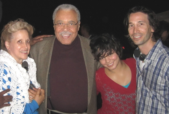 "Kathy DiFiore, on whom the movie ""Gimme Shelter"" is based, poses with stars of the movie James Earl Jones, Vanessa Hudgens and director-writer Ronald Krauss. CNS photo/Roadside Attractions"