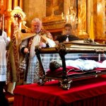 Selling items in church; Maria Goretti's remains