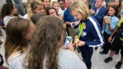 U.S. Olympic swimmer Katie Ledecky greets fans at Dulles International Airport in Virginia Aug. 17, after returning home from the Summer Games in Rio de Janeiro. (CNS photo/Jaclyn Lippelmann, Catholic Standard) See OLYMPICS-LEDECKY-HOMECOMING Aug. 19, 2016.