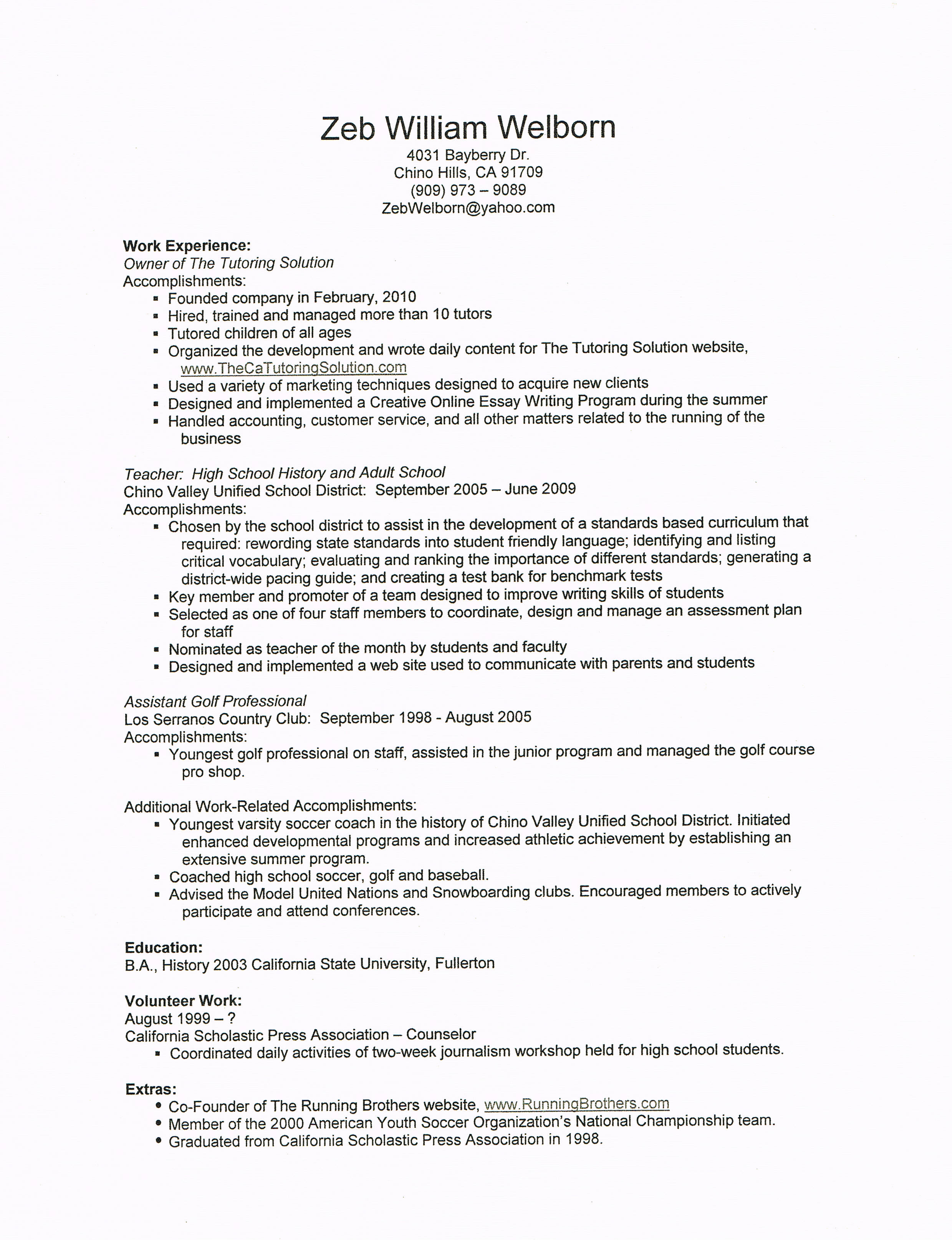 Tutor Resume Sample Zeb Welborns Resume The Tutoring Solution
