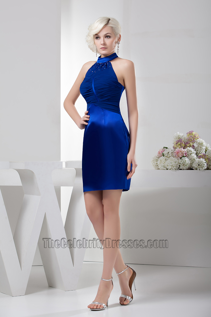 Party Chic Chic Royal Blue Halter Party Homecoming Cocktail Dresses