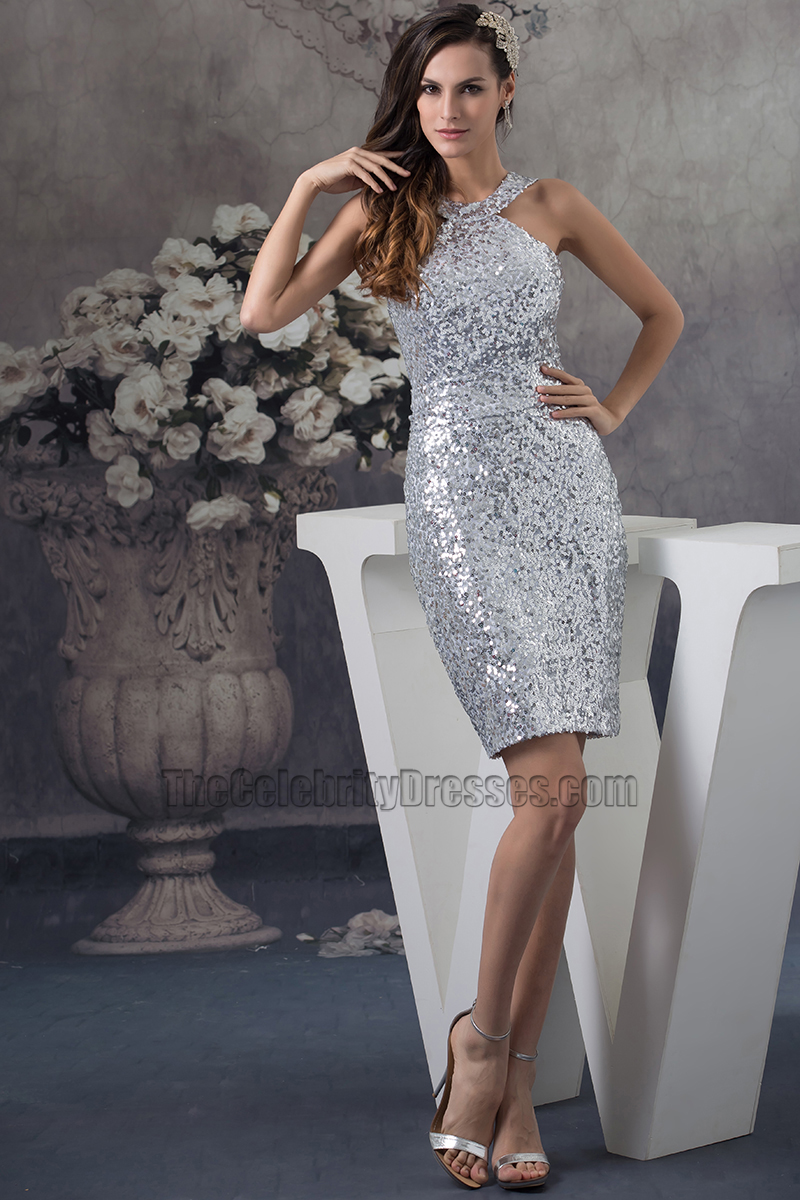 Party Chic Chic Silver Sequins Short Cocktail Party Graduation Dresses