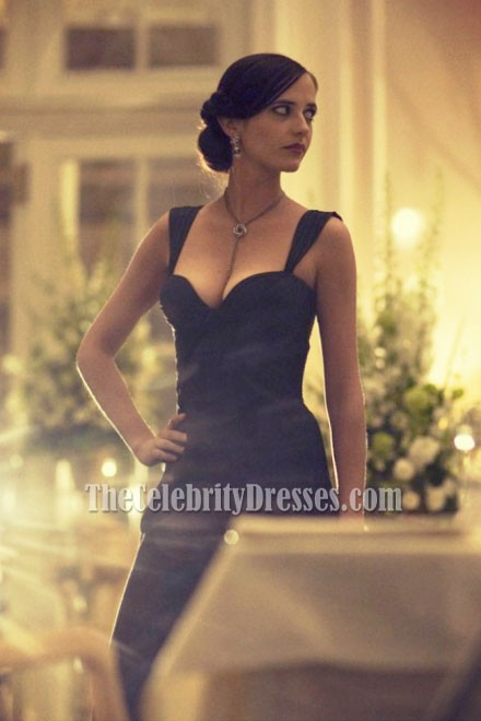 Teppich Gold Eva Green Black Ruffle Formal Evening Dress Casino Royale