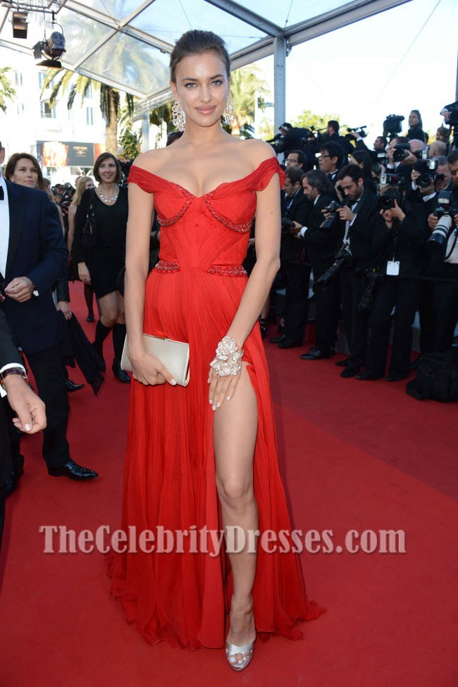 Teppich Gold Irina Shayk Red Prom Evening Dress 'killing' Cannes