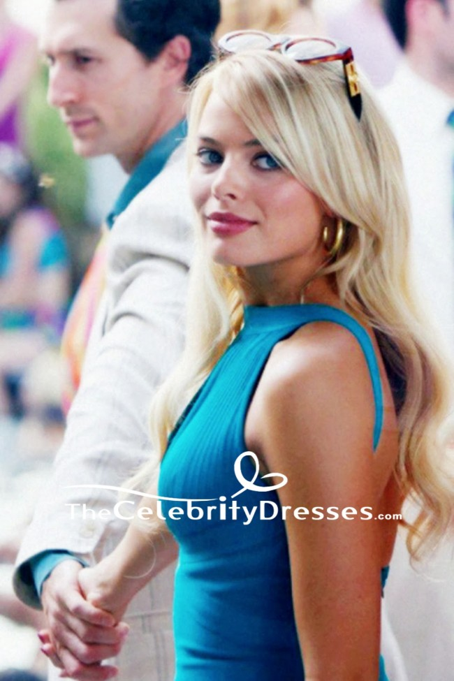 Teppich Gold Margot Robbie Blue Sexy Mini Dress In Movie The Wolf Of