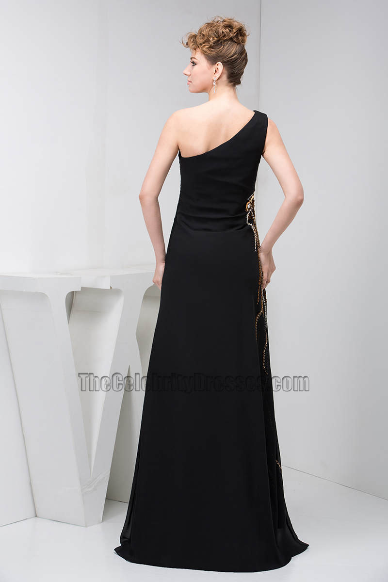 Shoulder Dress Elegant Black One Shoulder Beaded Formal Gown Evening