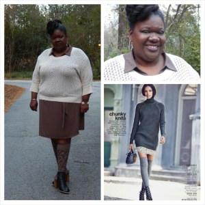 Thanksgiving OOTD Shirt dress Lane Bryant Sweater Ashley Stewart Knee socks Target Shoes Lane Bryant