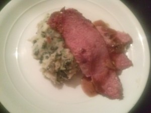 Dinner plated...Honey Mustard Brown Sugar Glazed Corned Beef with COlcannon