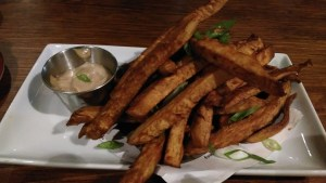 Sweet Potato Fries with Black bean dip