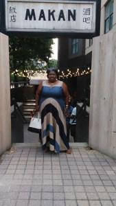 Me at the entrance of Makan in eShakti Maxi Dress