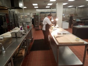 Plating station in the kitchen
