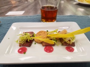 Second Course - Duck and Blood Orange Salad- Spent Grain Crackers, Frisee, Fennel, Blood Orange Vinaigrette Paired with Blood Pirate- Blood Orange IPA
