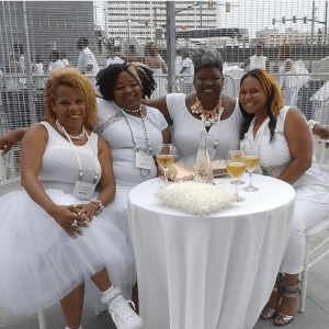 C.I.P. and the ladies in white. Rochelle, Paris and Dionna