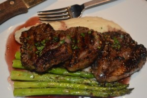 Grilled Lamb Chops with Garlic Mashed Potatoes & Asparagus