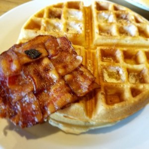 Waffles with  lattice bacon