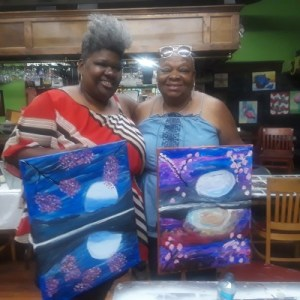 Me & my Mom with our finished paintings