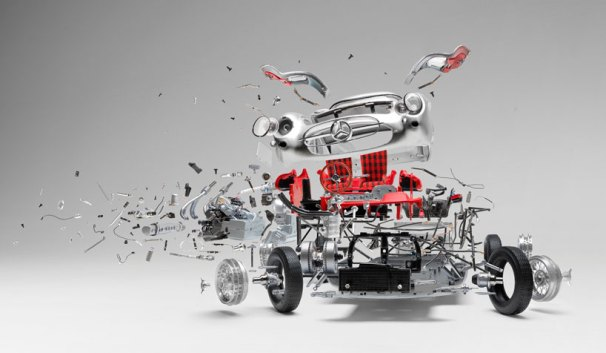 Gullwing Mercedes in Fabian Oefner's Disentegrating series