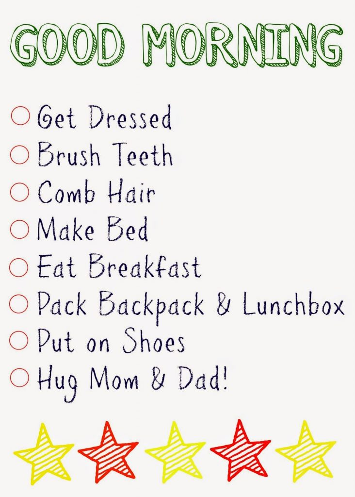 Kids\u0027 Daily Checklists - The Chirping Moms