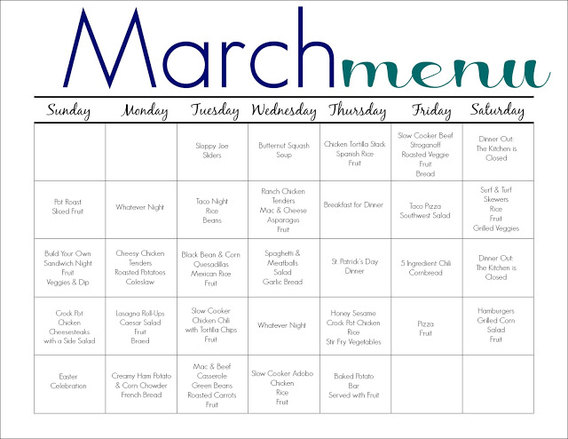 March Meal Plan for Families (Free Printable) - The Chirping Moms