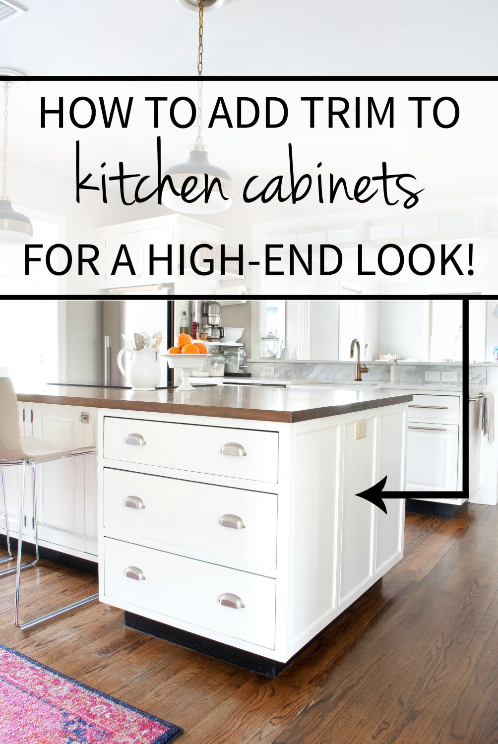 Adding Trim To Kitchen Island How To Add Detail To A Plain Kitchen Island - The