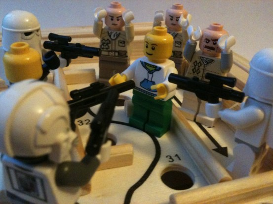 When he realised he couldn't kiss. Lego Judas just got himself a pointing stick instead.