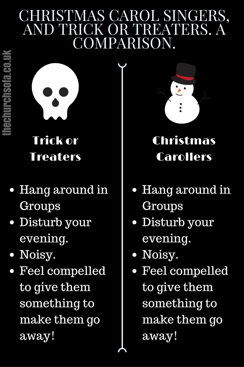 Christmas Carol Singers, and Trick Or Treaters. A Comparison.