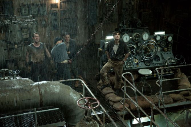 Ray Sybert (Casey Affleck) and Tchuda Sutherland (Josh Stewart) struggle to keep their ship, the SS Pendleton, from sinking in Disney's THE FINEST HOURS, the heroic action-thriller based on the extraordinary true story of the most daring rescue mission in the history of the Coast Guard.