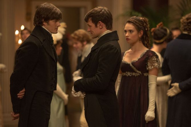 (l to r) Sam Riley, Matt Smith and Lily James star in PRIDE AND PREJUDICE AND ZOMBIES.