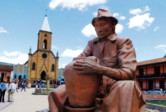 The clay statues in the town of Raquira.