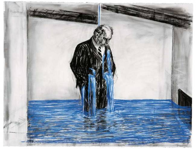Painting by William Kentridge on exhibit in Bogotá.