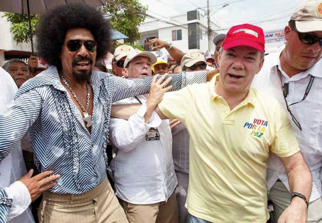 Juan Manuel Santos on the campaign trail in Barranquilla.