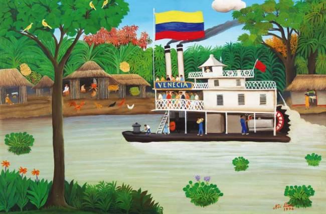 The primitivist painting Barco de Vapor by Noe León.