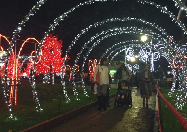 Christmas lights near the Calle 15 with Cra 85 in Bogota.